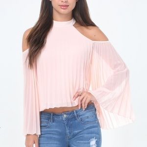 Bebe Pleated Cold Shoulder Top in Pink